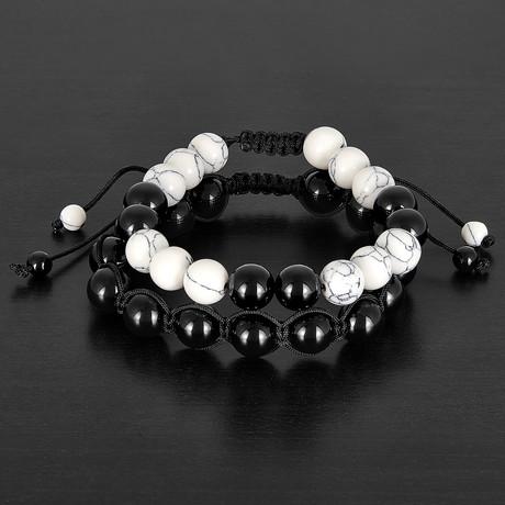 Dyed Turquoise + Onyx Natural Stones Adjustable Bracelet Set // White + Black