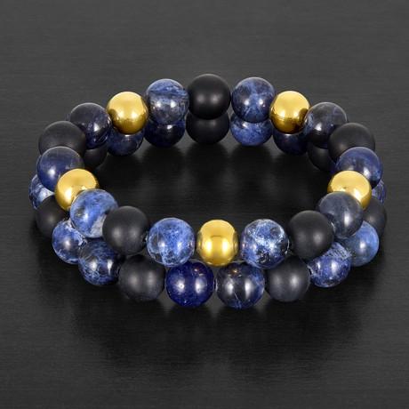 Sodalite + Matte Onyx Stone Beaded Stretch Bracelet Set