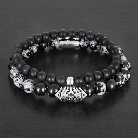 Snowflake Agate + Matte Onyx Stone Beaded Stretch Bracelet Set