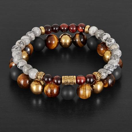 Tiger's Eye + Natural Stones Beaded Stretch Bracelet Set