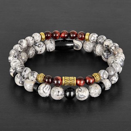 Jasper + Tiger's Eye Stone Beaded Bracelet Set // Red