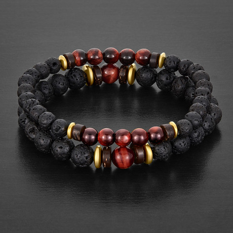 Tiger's Eye + Lava Stone + Hematite Beaded Bracelet // Red + Black + Gold