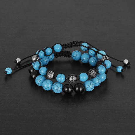 Stainless Steel + Polished Turquoise + Agate Natural Stone Bracelet Set // Silver + Blue + Black