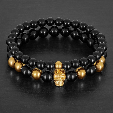 Gold Plated Stainless Steel Skull Charm with Onyx Stone Stretch Bracelet Set