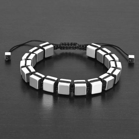 IP Hematite Cube Stone Adjustable Bracelet // Silver