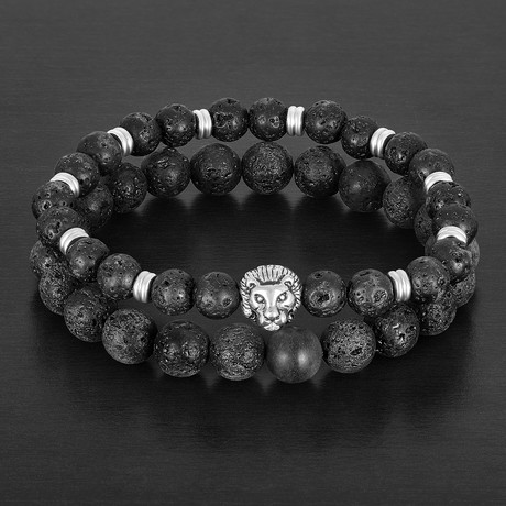 Onyx + Lava Natural Stones Stretch Bracelet Set