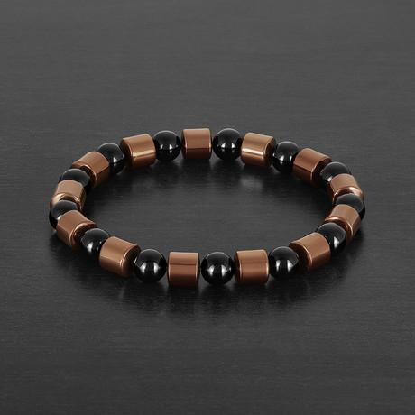 Copper IP Hematite + Onyx Stone Beaded Bracelet