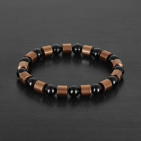 Hematite + Onyx Stone Beaded Bracelet // Black + Brown