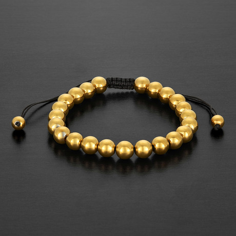 IP Hematite Stone Beaded Adjustable Bracelet // Gold