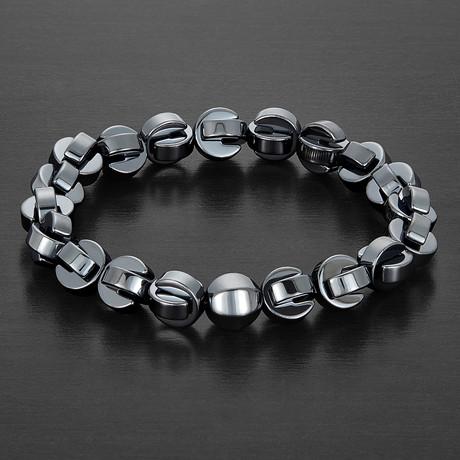 Hematite + Onyx Stone Beaded Bracelet // Gray