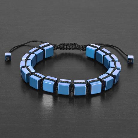 IP Hematite Cube Stone Adjustable Bracelet // Blue