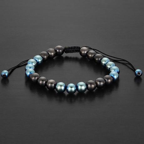 Two-Tone Hematite Stone Beaded Adjustable Bracelet