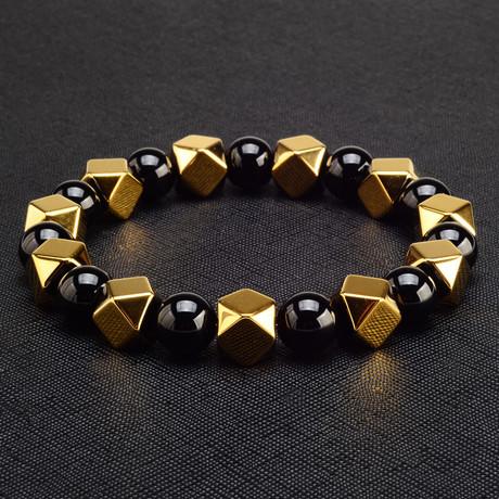 Hematite Stone Beaded Adjustable Bracelet // 8mm