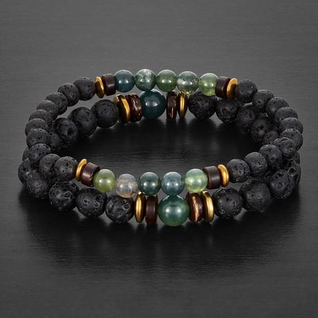 Agate + Lava Stone + Hematite Beaded Bracelet // Green + Black + Gold