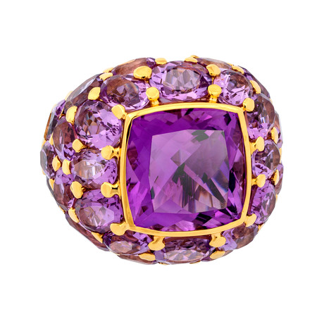 Mimi Milano 18k Two-Tone Gold Amethyst Ring // Ring Size: 7.5