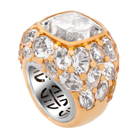Mimi Milano 18k Two-Tone Gold Rock Crystal Ring // Ring Size: 7.5