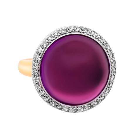 Mimi Milano 18k Yellow Gold Amethyst + Diamond Ring // Ring Size: 5.75