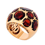 Mimi Milano 18k Rose Gold Garnet + Cognac Diamond Ring // Ring Size: 7