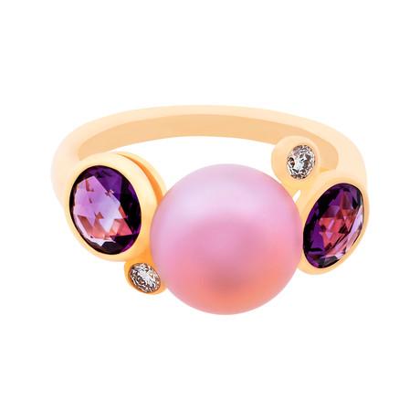 Mimi Milano 18k Rose Gold Multi-Stone Ring I // Ring Size: 7
