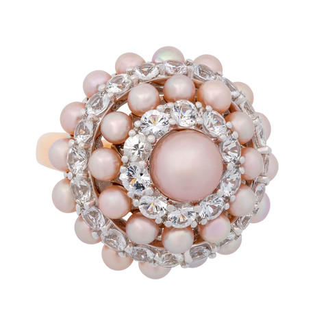 Mimi Milano 18k Two-Tone Gold White Sapphire + Violet Cultured Pearl Ring // Ring Size: 7.5