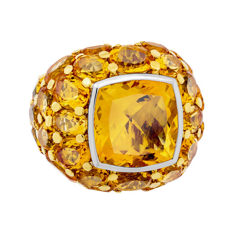 Mimi Milano 18k Yellow Gold Citrine Ring // Ring Size: 6.75