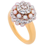 Mimi Milano 18k Two-Tone Gold White Sapphire + Violet Cultured Pearl Ring // Ring Size: 7