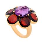 Mimi Milano 18k Rose Gold Amethyst + Garnet Ring // Ring Size: 6.75