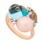 Mimi Milano 18k Rose Gold Multi-Stone Ring // Ring Size: 7.75