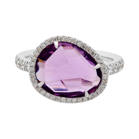 Mimi Milano 18k White Gold Diamond + Amethyst Ring // Ring Size: 7