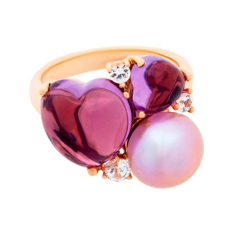Mimi Milano 18k Rose Gold Multi-Stone Ring II // Ring Size: 7.5