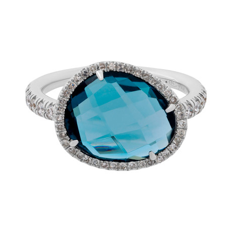 Mimi Milano 18k White Gold Diamond + London Blue Topaz Ring // Ring Size: 7