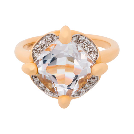 Mimi Milano 18k Two-Tone Gold Diamond + Rock Crystal Ring // Ring Size: 7.5