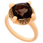 Mimi Milano 18k Two-Tone Gold Cognac Diamond + Smoky Quartz Ring // Ring Size: 7.5