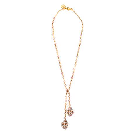 Mimi Milano 18k Two-Tone Gold White Sapphire + Violet Cultured Pearl Necklace