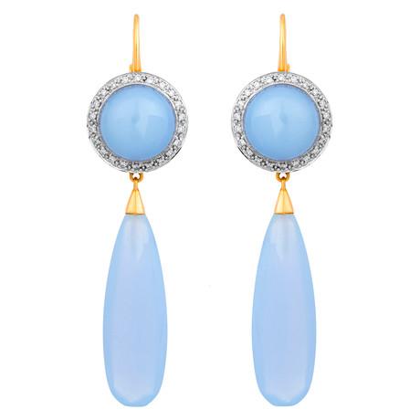 Mimi Milano 18k Two-Tone Gold Chalcedony + Diamond Earrings