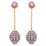 Mimi Milano 18k White Gold White Sapphire + Violet Cultured Pearl Earrings