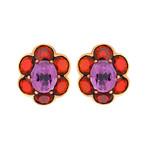 Mimi Milano 18k Rose Gold Amethyst + Garnet Earrings
