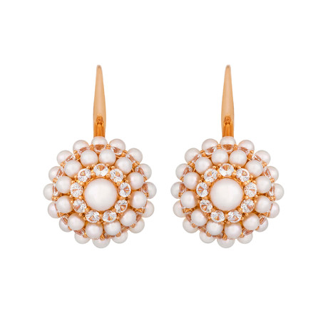 Mimi Milano 18k Two-Tone Gold White Sapphire + White Cultured Pearl Earrings