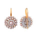 Mimi Milano 18k Two-Tone Gold White Sapphire + Violet Cultured Pearl Earrings II