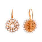 Mimi Milano 18k Two-Tone Gold White Sapphire + White Cultured Pearl Earrings
