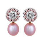 Mimi Milano 18k Two-Tone Gold White Sapphire + Violet Cultured Pearl Earrings I