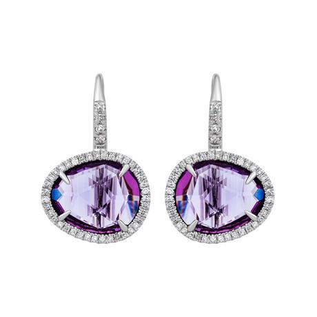 Mimi Milano 18k White Gold Diamond + Amethyst Earrings I