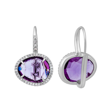 Mimi Milano 18k White Gold Diamond + Amethyst Earrings