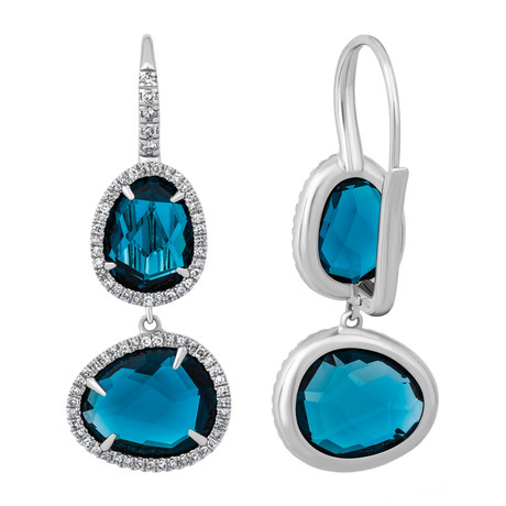 Mimi Milano 18k White Gold Diamond + London Blue Topaz Earrings I