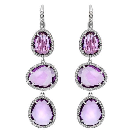 Mimi Milano 18k White Gold Diamond + Amethyst Earrings II