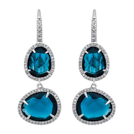 Mimi Milano 18k White Gold Diamond + London Blue Topaz Earrings