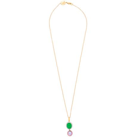 Mimi Milano 18k Two-Tone Gold Multi-Stone Pendant Necklace III
