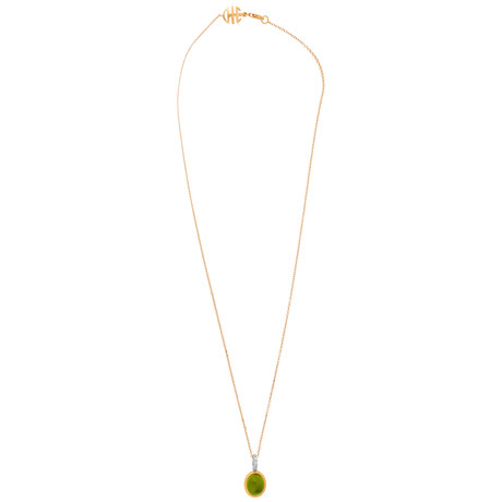 Mimi Milano 18k Two-Tone Gold Peridot + Diamond Pendant Necklace