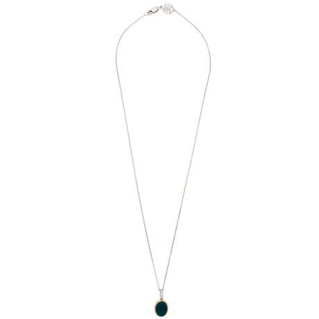 Mimi Milano 18k Two-Tone Gold London Blue Topaz + Diamond Pendant Necklace