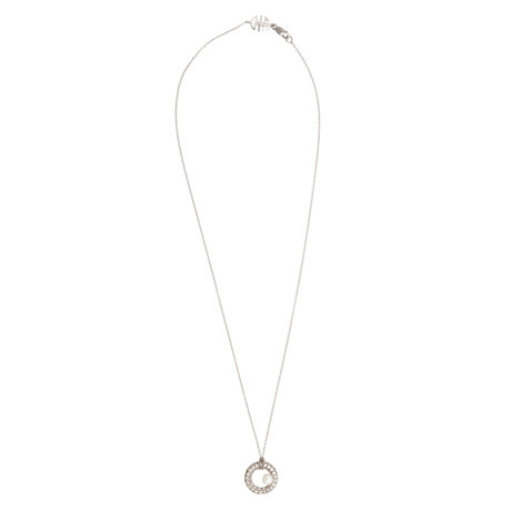 Mimi Milano 18k White Gold Diamond + White Cultured Pearl Pendant Necklace